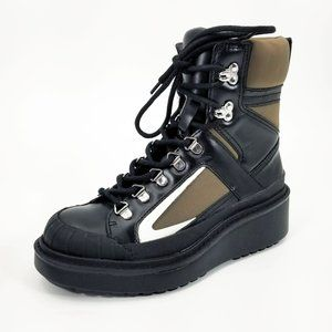 Zara Leather Flat Mountain Boots Platform Lace Up Boots Size 6